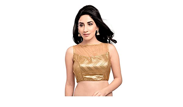 973f31aa5ca348 Amazon.com  Sensational Gold Sequined Sleeveless Ready-made Saree Blouse -  X-225  Clothing