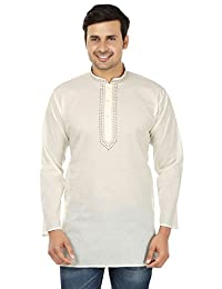 Maple Clothing Cotton Mens Short Kurta Shirt Embroidered Indian Dress