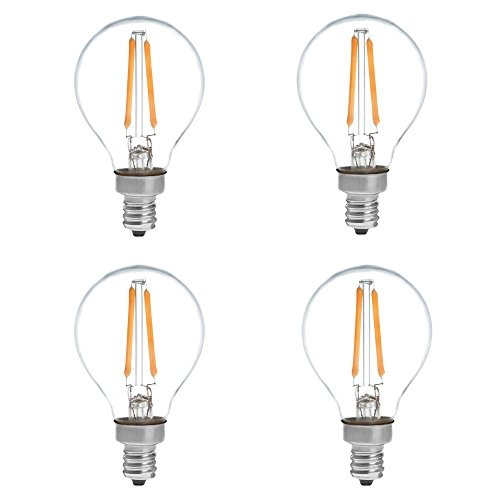[Update] HERO-LED G14-DS-2W-WW27 Dimmable G14 E12 2W Candelabra Style LED Vintage Antique Filament Bulb, 25W Equivalent, Warm White 2700K, 4-Pack