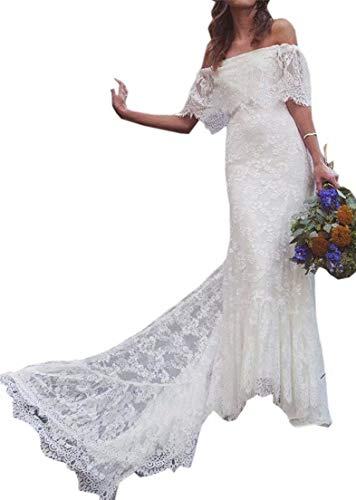 Women's Off Shoulder Court Train Lace Bridal Gowns Sheath Boho Beach Wedding Dresses ()