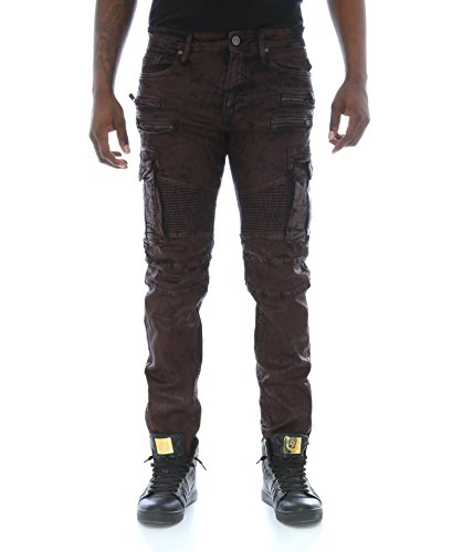 Jordan Craig Men's Slim Stretch Noir Coated Cargo Biker Denim Jeans -Wine-32/32 by Jordan Craig
