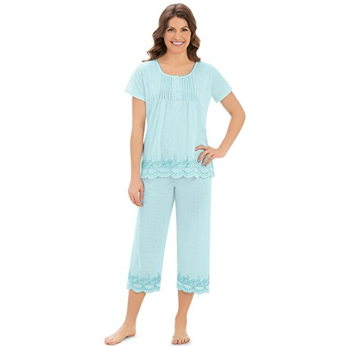 Collections Women's Embroidered Border Pajama Set, Mint, ()