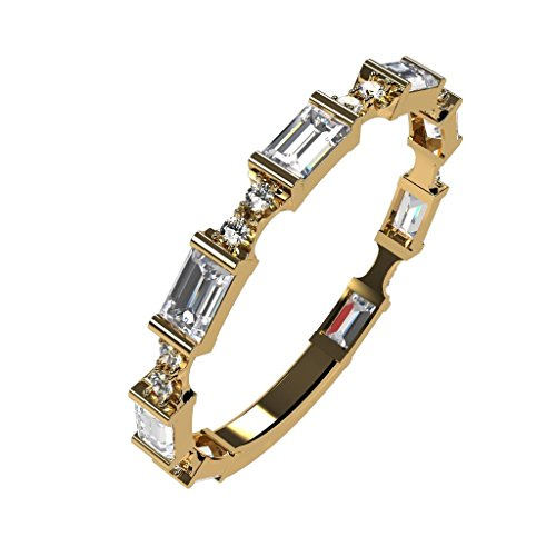 NaNa Silver Stackable Ring Baguette Cut Yellow Gold Plated - Size 8 - Simulated Diamond - April Birthstone