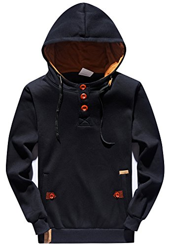 YuKaiChen Men's Hoodies Pullover Long Sleeve Hoody Sport Sweatshirts Black - Pullover Mens Long Sleeve