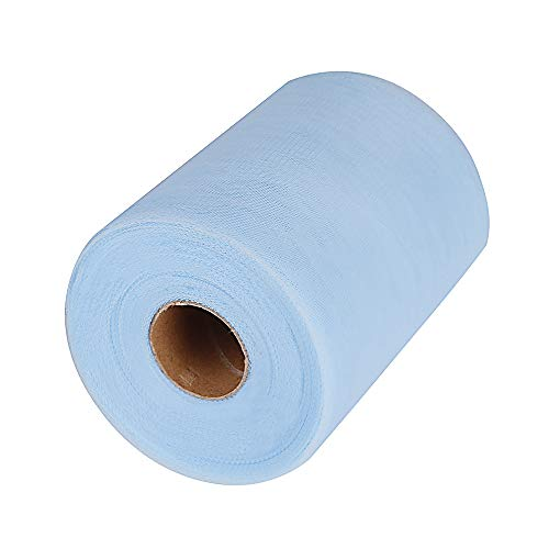 Tulle Roll Spool Fabric for Sewing, Table Skirt and Wedding Decoration,Many Colors Available, 6 Inches by 100 Yards! (Light Blue) ()