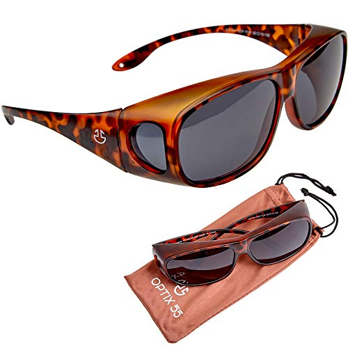 Over Glasses Sunglasses For Men and Sunglasses for Women, UV Protection Fit Over Sunglasses, Matte Wrap Around Sun Glasses with Polarized Smoked Lenses (Tortoise, Brown - ()