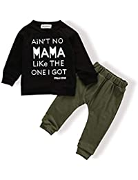 Baby Boy Clothes Funny Letter Printed Tops Leggings Pants...
