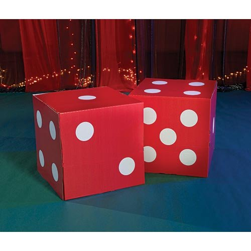 Shindigz Giant Red Dice Vegas Casino Decoration Photo Booth Prop Background Backdrop Party Decoration Scene Setter ()