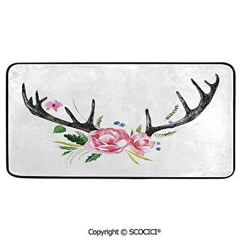 - Rectangle Rugs for Bedside Fall Safety, Picnic, Art Project, Play Time, Crafts, Large Protective Mat, Thick Carpet,Antler Decor,Black Deer Horns with Pink Roses Floral Wreath Design in,39