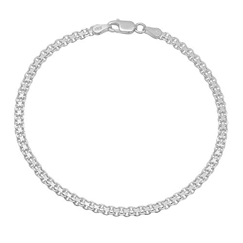 Bismark Silver Bracelet (3mm .925 Sterling Silver Nickel-Free Italian Bismark Link Bracelet or Anklet, 10 inches + Cleaning Cloth)