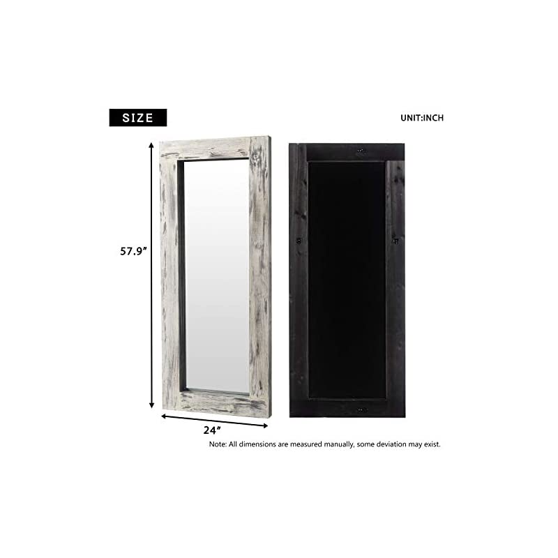KIAYACI Floor Mirror Wood Frame Wall Mounted Mirror Distressed Style Wide Frame Dressing Make Up Mirror for Bathroom…