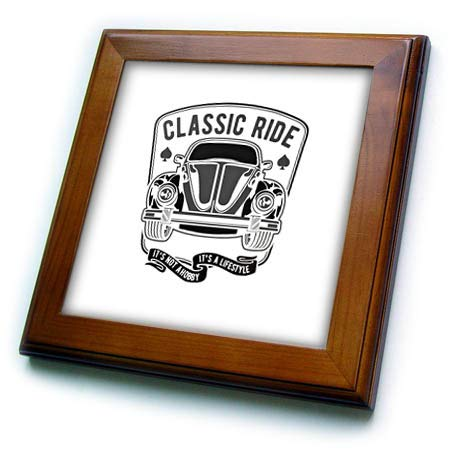 3dRose Alexis Design - Vintage - Image of a Retro car. Classic Ride is not a Hobby. It is a Lifestyle - 8x8 Framed Tile (ft_292301_1)