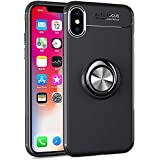 Avalri for iPhone XS Max Case, Thin Soft Full Protective 360 Degree Rotating Ring Kickstand Cover with Magnetic Car Mount for iPhone XS Max 6.5 Inch (Black)