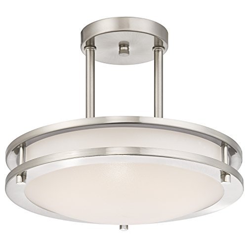 Westinghouse 6400900 Dimmable LED Indoor Semi Flush Mount Ceiling Fixture,  Brushed Nickel Finish
