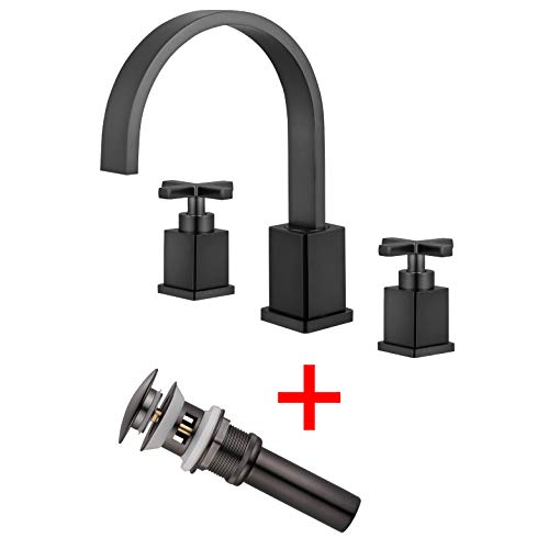 - Etel Two Handle Black Widespread Bathroom Faucet, 3 Hole Widespread Bathroom Lavatory Sink Faucet, 8 Inch High Arc Cross Handle Roman Tub Faucet with Pop Up Drain Y6899