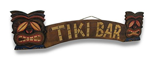 Large Hand Carved Tiki Bar Sign with Two Palm Trees 3D 40 in