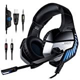 Mbuynow Gaming Headset for Xbox One, PC, PS4 Over-Ear Stereo Gaming Headphones with Noise Cancelling Mic, Surround Sound, Volume Control, LED Lights for Laptop Mac