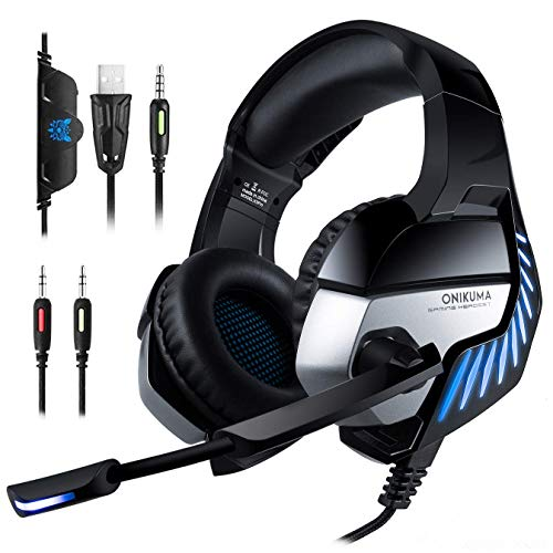 Mbuynow Gaming Headset K5 Pro, Stereo Gaming Headset with Microphone for Xbox One, PS4, PC, Switch, Smartphone with 7.1 Surround Sound, Noise Cancelling, Volume Control, LED Lights (2020 New Version)
