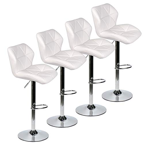 PULUOMIS Set of 4 Bar Stools Leather Modern Hydraulic Swivel Dinning Chair Barstools, White