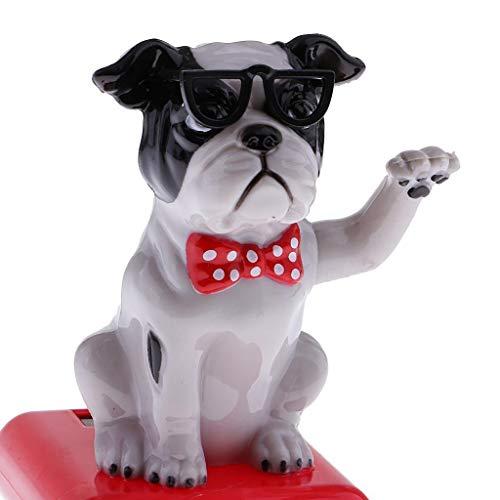 FidgetFidget 2pcs Solar Power Bobbing Head Puppy Bobble Head Dancing Dancer Toy Car Decor