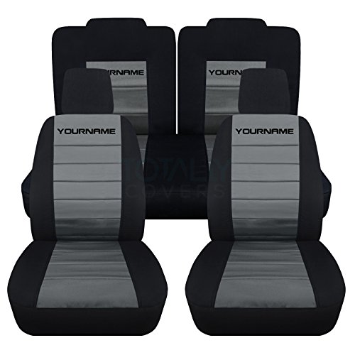 Totally Covers Fits 2005-2010 Ford Mustang 2-Tone Seat Covers with Your Name/Text: Black & Charcoal - Full Set (22 Colors) Coupe/Convertible V6/GT Solid/Split Bench 50/50 5th Gen 2006 2007 2008 2009