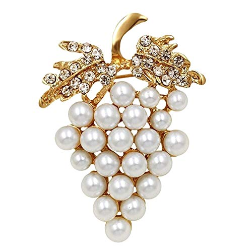 EatingBiting(R) Elegant Faux Pearl Grapes White Rhinestones Leaf Fruit Brooches Pins Gold Tone Women Charms Wedding Bridal Grape Brooch Pins Jewelry Gift
