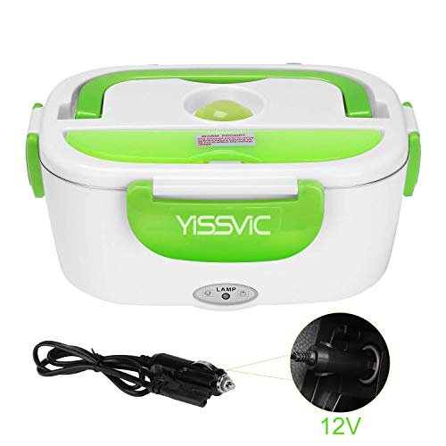 YISSVIC Electric Lunch Box Food Heater 40W Car-use Charging Adapter Portable Lunch Heater with Removable Stainless Steel Container Food Grade Material