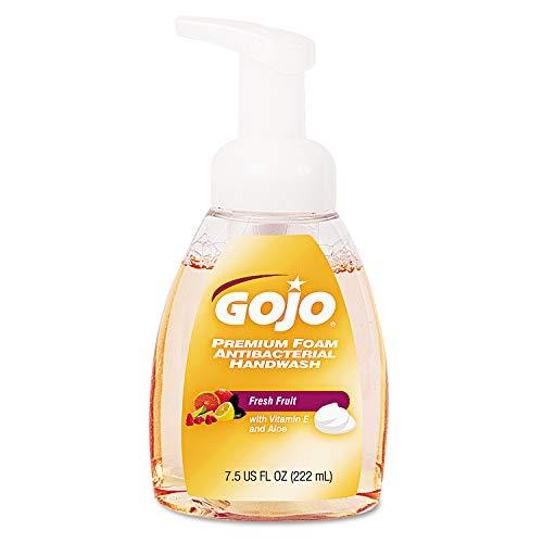 GOJO Premium Foam Antibacterial Hand Wash, Fresh Fruit Scent, 7.5 fl oz Foam Handwash Counter Top Pump Bottles (Case of 6) - 5710-06