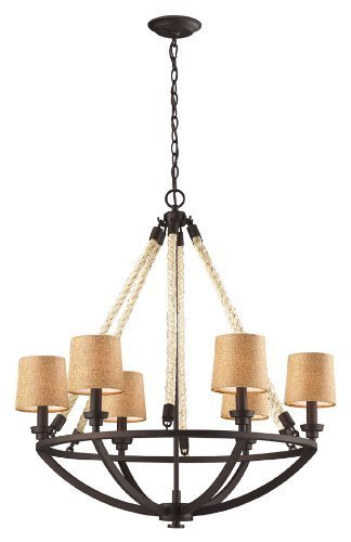 Elk 63016-6 Natural Rope 6-Light Chandelier, 30 by 32-Inch, Aged Bronze Finish by Elk Lighting by ELK Lighting