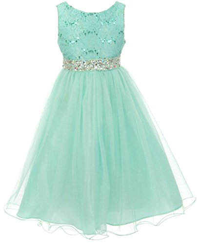 AkiDress Sequin Lace Top with Tulle Bottom Flower Dress for Little Girl Mint 14 3.40