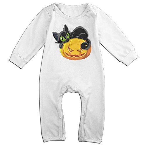 Newborn Baby Halloween Cat Long Sleeve Climb Jumpsuit 18 Months White