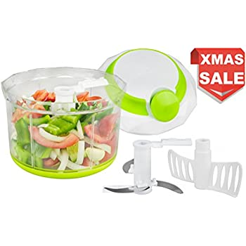 Brieftons QuickPull Food Chopper: Large 4-Cup Powerful Manual Hand Held Chopper / Mincer / Mixer / Blender to Chop Fruits, Vegetables, Nuts, Herbs, Onions for Salsa, Salad, Pesto, Coleslaw, Puree