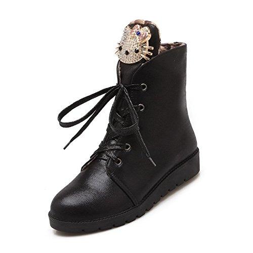 Allhqfashion Womens Zacht Materiaal Veterschoen Ronde Gesloten Neus Lage Hakken Lage Laarzen Zwart