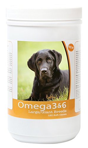 Healthy Breeds Dog Omega 3 & 6 Fish Oil Soft Chews for Labrador Retriever - Large Dog Formula - Over 40 Breeds -Supplement with Anchovy, Krill Oil - 120 Count -