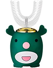 U-Shape Children's Electric Toothbrush,Interest Cultivation,IPX7 Waterproof Toothbrushes for Children 2-6 Ages (Color : Green)