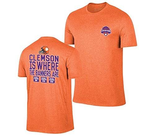 Elite Fan Shop Clemson Tigers National Champs Tshirt 2018-2019 Banners Orange - XL