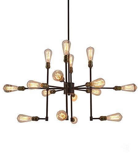 Hall of Lamp Industrial Chandeliers Vintage Sputnik Chandlier Large with 16 Lights Bronze Finish,39 Inch Edison Bulb Pendant Lighting (Hall Lamp)