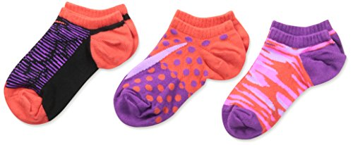 Nike Graphic Lightweight No-Show Kids Socks (3 Pair), Size M (5Y-7Y)
