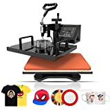"Heat Transfer Machine-Nurxiovo 5 in 1 Swing-Away Digital Transfer Sublimation T-Shirt Hot Pressing Machine-Multipurpose Mug/Hat Plate/Cap Press,12x15"" Combo Kit"
