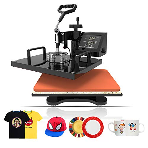 SUNCOO 5 in 1 Heat Press Transfer Machine 12x15 inches Hot Pressing Vinyl Digital Sublimation Combo Kit for T-Shirt/Mug/Hat/Cap/Ceramic 360 Degree Swing - Press Machine Heat