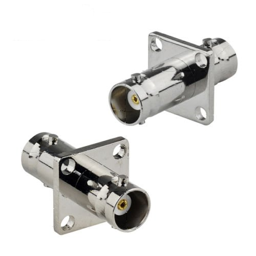 2-Pack BNC Female to Female 4 Hole Panel Flange Mount Coaxial Connector Adapter
