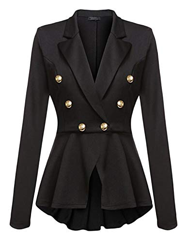 (Quesera Women's Ringmaster Jacket Casual Work Double Breasted Crop High Low Peplum Blazer, Black, Tag Size 2XL=US Size)