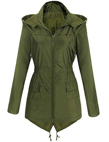 - Grabsa Women's Waterproof Lightweight Active Outdoor Raincoat with Hood Long Rain Jacket Army Green M