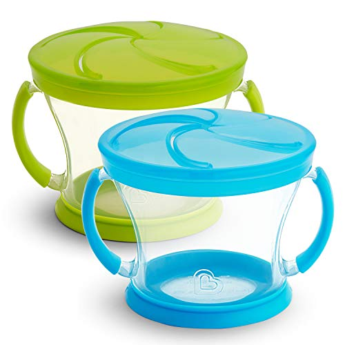 2 Piece Baby Feeding Set - Munchkin 2 Piece Snack Catcher, Blue/Green