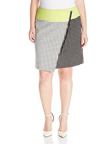 Modamix Women's Plus-Size Color Blocked Jacquard Skirt with Scuba Waist Band, Black/White, 20W