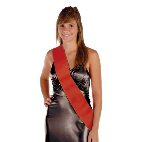 Satin Sash (red) Party Accessory  (1 count) - Queen Sash Satin Prom