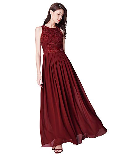 Ever-Pretty Women Elegant A Line Long Pleated Prom Dress with Lace Bodice 16US Burgundy