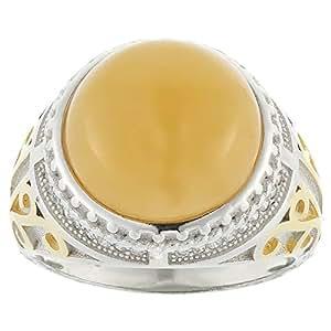 Aurora Men's Silver Aqeeq Yellow Ring