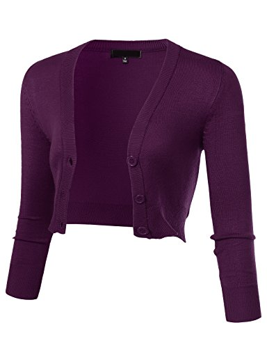 ARC Studio Women's Solid Button Down 3/4 Sleeve Cropped Bolero Cardigans L Purple - Acrylic Purple Spandex