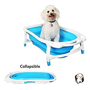 BaileyBear Porta Tubby Collapsible Portable Foldable Dog Cat Bath Tub, Expandable Grooming Washing Accessory for Small Medium Pets, 31.5″x17.3″x8.7″
